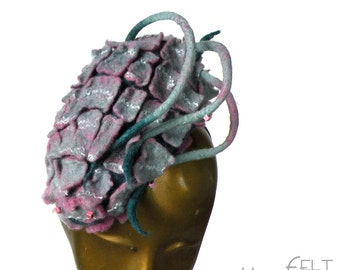 Unique Fascinator for Races such as Kentucky Derby in Pale Pink and Green - Avante Garde and Playful Fantasy Hat