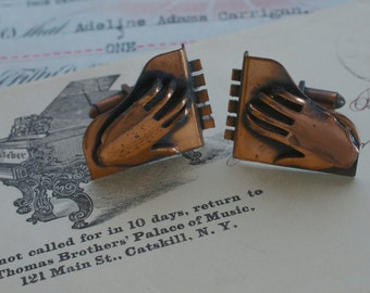 Vintage Mens Copper Hands on Piano Cufflinks