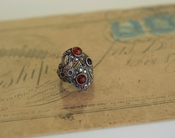 ART DECO Silver Garnet and Marcasite Ring 1930s Vintage