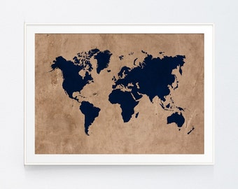 Navy art etsy vintage style rustic world map print wall art navy map earthy decor gumiabroncs Image collections