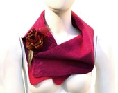 Merino Wool Scarf Raspberry with silk velvet flower pin