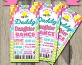 Daddy Daughter Dance Celebration Candyland Tickets  Invitation Candy Invite with Chevron Printable Print at Home DIY
