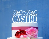 Wedding Cake Topper Monogram Mr and Mrs cake Topper Design Personalized with YOUR Last Name D037