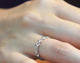 White Gold Wedding Band, Braided White Gold Band, delicate White Gold Band, 14K White Gold Braided Wedding Ring Solid Gold Band