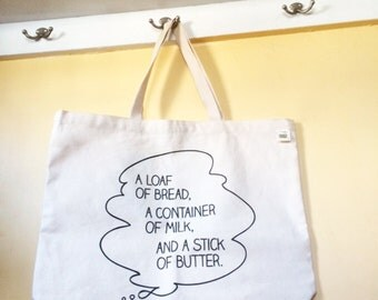 Nostalgic Sesame Street Tote — A Loaf of Bread, a Container of Milk, and a Stick of Butter
