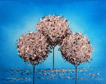 Whimsical Tree Painting Canvas Print, Abstract Landscape Painting, Giclee Print of Oil Painting, Silver and Blue Dreamscape 5x7, 8x10, 11x14