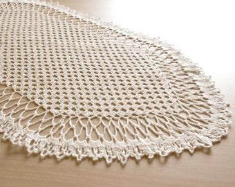Crochet table runner White oval doily lace Large crochet doily Large crochet table runner Table decor Crocheted runner Home decor