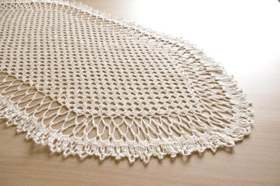 Crochet table runner White oval doily lace Large crochet doily