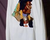 WHOA, Vtg 70s Semi Sheer White Men's Jacket with NATIVE AMERICAN Needlepoint Back