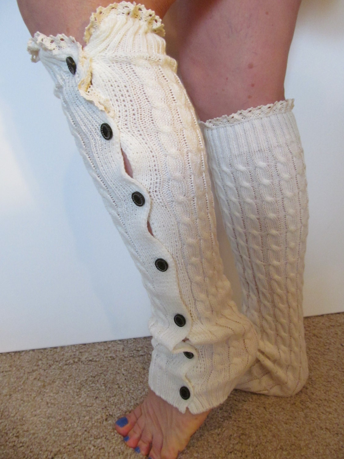 SALE Cream White Lace Leg Warmers Boot Socks With Button Down
