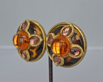 Ultra Rare JAY STRONGWATER  Earrings Leopard Glass, Amber & Pink Cabochons Clips Vintage