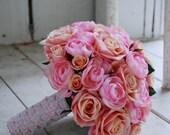Silk bridal bouquet, pink roses, bright pink ranunculus