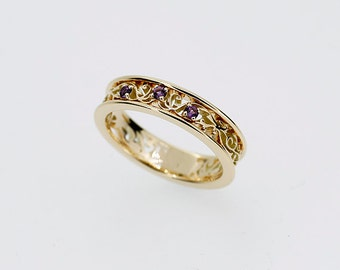Amethyst ring, filigree wedding ring, purple, yellow gold, white gold, rose gold, amethyst engagement, lace, vintage, filigree engagement