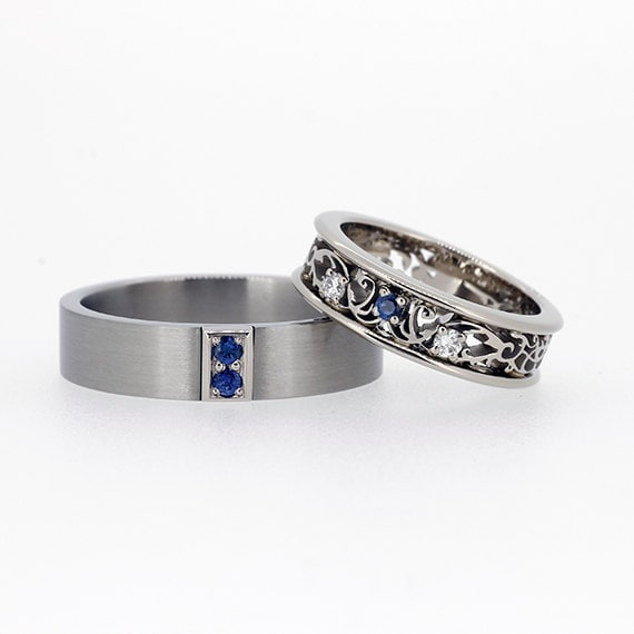 like this item - Blue Sapphire Wedding Ring Sets