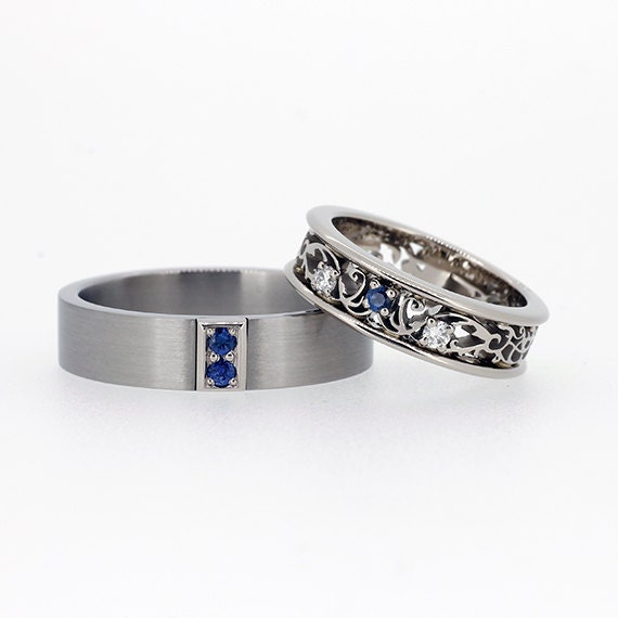 Blue Sapphire Wedding Ring Set Filigree