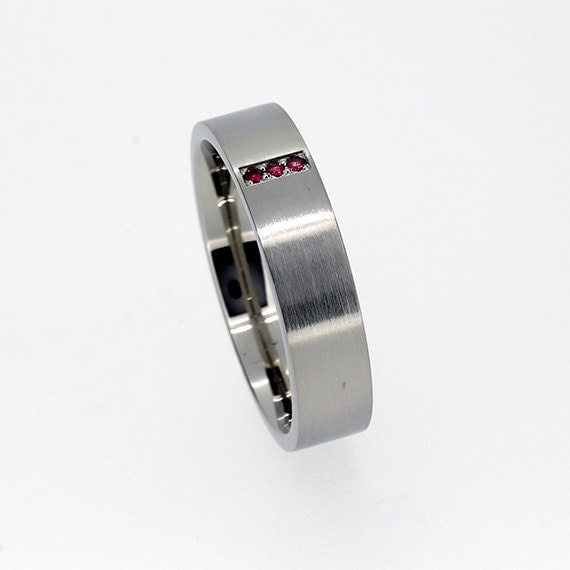 Palladium Wedding Band Ruby Ring Mens