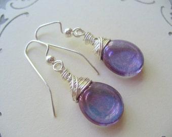 Purple Earrings, Wire Wrapped Earrings, Purple Amethyst Earring, Drop Earring, Purple Jewelry, Wire Wrapped Jewelry, Handmade Dangle Earring