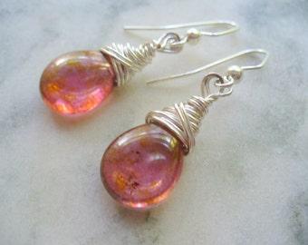 Red Earrings, Wire Wrapped Earrings, Rose Red Earrings, Drop Earrings, Red Jewelry, Wire Wrapped Jewelry, Handmade Dangle Earrings