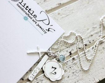 First Communion Gift, Handstamped Sterling Silver Dainty Flower, InitialCharm, Gift for Girl
