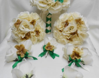 Wedding Silk Flower Bridal Bouquets 18 pcs Package Champagne Ivory Emerald Cream Toss Bridesmaids  Boutonniere Corsages FREE SHIPPING
