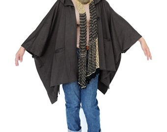 NO.163 Charcoal Gray Cotton-Blend Jersey Cover Me Hoodie Poncho