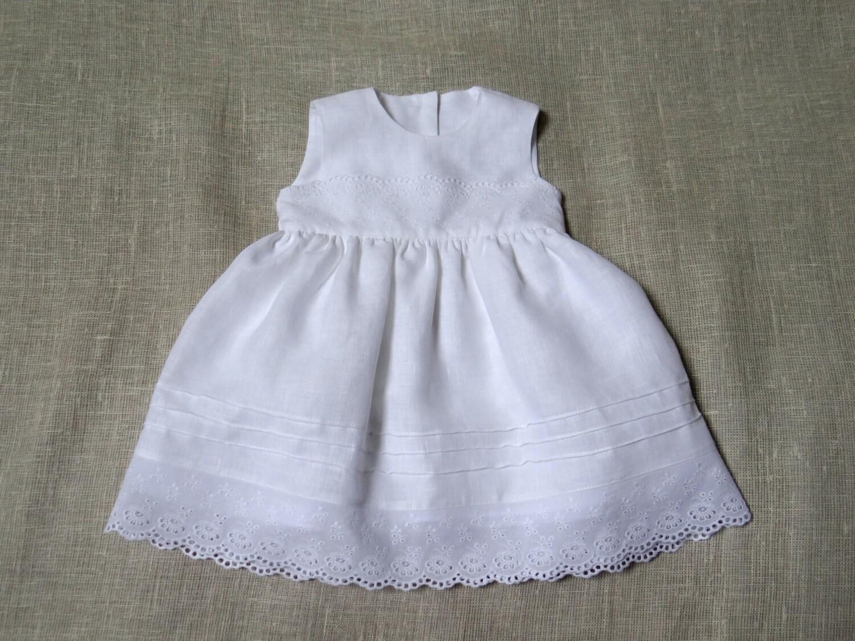Baby Girl Baptism Dress Girl White Linen Dress Flower Girl