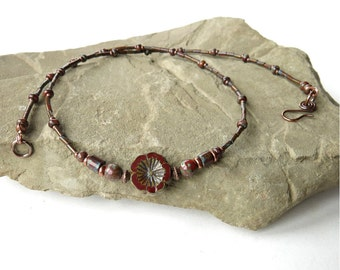 Red flower necklace - maroon wine Picasso Czech glass beads & antiqued copper