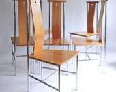 Suite of 6 Sculptural Side Chairs. 1990's Dining Chairs.