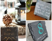 Personalized Slate Wedding Table Numbers with Stand - Rustic, Elegant, Wedding, Engagement, Party, Fundraiser