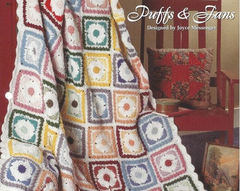 Puffs & Fans - Afghan Collector's Series - The Needlecraft Shop - Crochet Afghan Pattern, Granny Square, Home Decor, Blanket, Bedspread