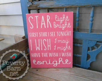 Star Light Star Bright Hand Painted Wood Art Sign