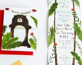 Kavi's First Birthday fold-out Bear, woodland invitation