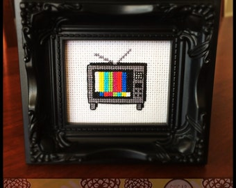 Off The Air Cross Stitch (Printable PDF Pattern) - Immediate Download from Etsy - TV Television Sugar Stitch
