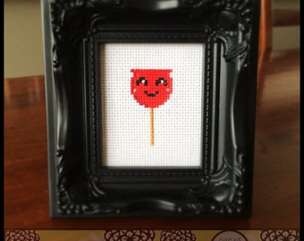 Kawaii Candy Apple Cross Stitch (Printable PDF Pattern) - Immediate Download from Etsy - Cute Sweet Japanese Style