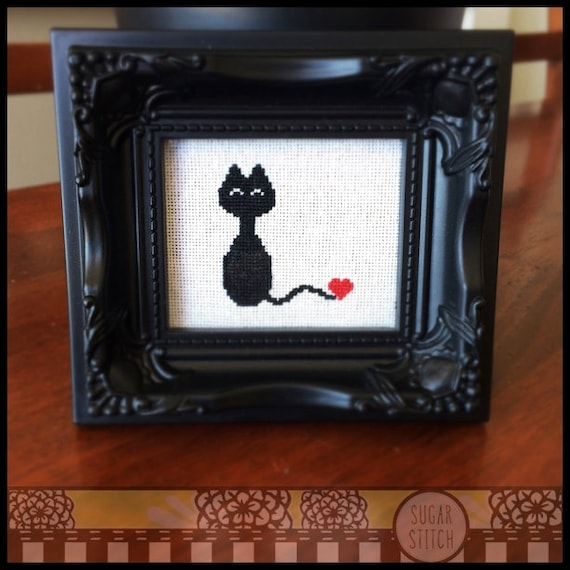 Kitty Love Cross Stitch (Printable PDF Pattern) - Immediate Download from Etsy - Cute Black Cat / Kitten / Kitty