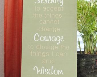 Serenity Prayer Sign in Olive Green