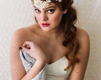 Bridal Beaded Rhinestone Headpiece. Gold & Ivory Bridal Hair Vine. Bridal Accessory {Ekaterina}