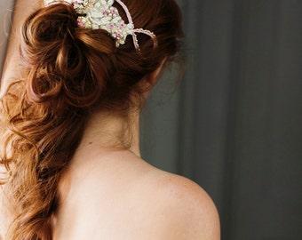 Bridal Comb. Rhinestone Beaded Bridal Hair Comb in Blush, Ivory & Gold {Tatiana}
