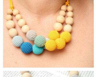 Double statement nursing necklace - Breastfeeding bib necklace - crochet necklace - yellow, aqua blue, teal