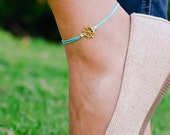 Ship wheel anklet, ankle bracelet with a 14k gold plated helm charm, brown string, nautical jewelry, sailor, sea, summer jewelry, beach