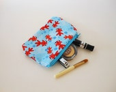 Cute Goldfish Coin Purse - Zippered Pouch - Tiny Makeup Bag - Coupon Holder - Japanese Fabric - Small Zipper Purse - Cosmetic Purse