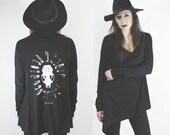 Skunk Ghost drape cardigan in black
