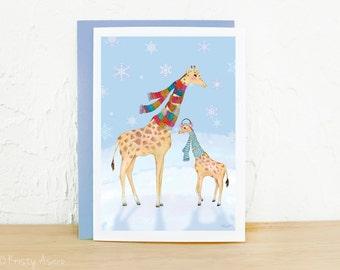 Giraffe Holiday Snowflake Card