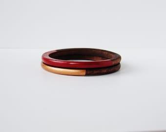 Geometric Skinny Wood bangle Set Bronze and Red.