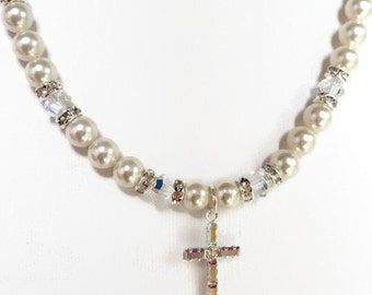 Communion Necklace, First Holy Communion, Religious Jewelry, Catholic Jewelry, Cross Necklace