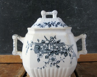 Antique Ironstone Sugar Bowl, 1860s Blue Transferware Ironstone Sugar with Lid, W.H. Grindley, Blossom Pattern