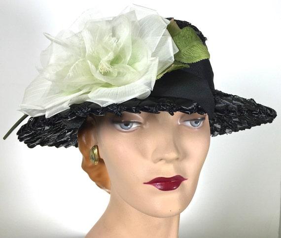 vintage womens black straw hat kentucky derby by