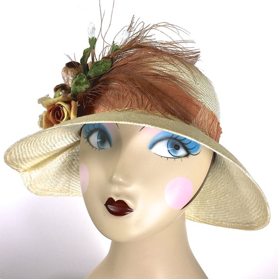 kentucky derby hat ivory and brown easter hat church hat