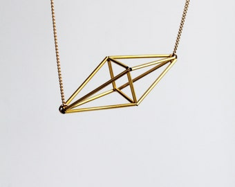 SALE 20% off! Himmeli inspired geometric pendant necklace, cage necklace in gold tone / geometric jewelry