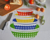 Tea Towel: Vintage Pyrex Dots Mixing Bowls, Flour Sack Tea Towel Screen Print, Primary Colors, 4 Color Print, Red, Blue, Green, Yellow